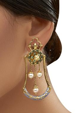 Amrapali Triple Pearl Drop Earrings