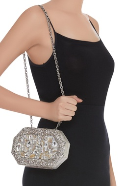 Structured Embellished Clutch cum sling