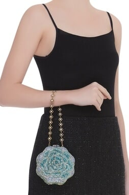 Crystal studded rose shaped clutch