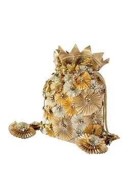 3D Gota Flower embroidered Potli Bag