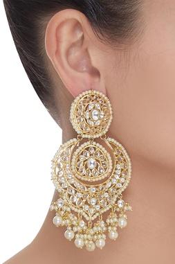Kundan Dangling Chandbali Earrings