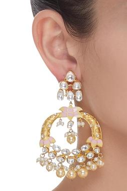 Lotus Pearl Drop Dangler Earrings