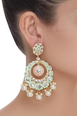 Mint Green Meenakari Chandbali earrings