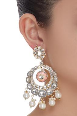 Meenakari Pearl Drop Chandbali earrings