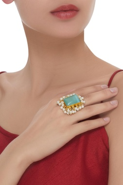 Hand Crafted Stone & Pearl Finger Ring