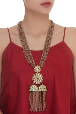 Copper Bead & Kundan Long Necklace