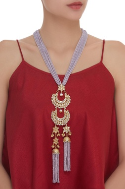 Bead Tassel & Kundan Long Necklace