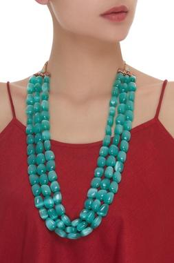Pine Green Stone Three Layer Necklace
