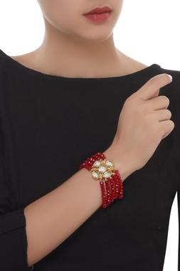 Multi-String Bead & Kundan Bracelet