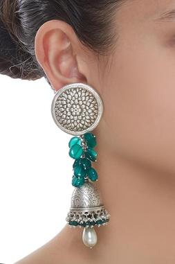 Flower Pearl Drop Jhumki Earrings