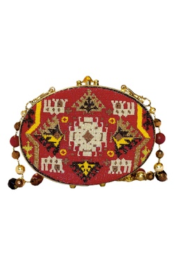 Beads Embroidered Oval Clutch Cum Sling bag