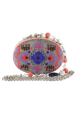 Glass Beads Embroidered Oval Clutch Cum Sling bag