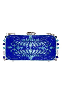 Beads Embroidered Rectangular Metal Clasp Clutch