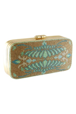 Beads Embroidered Metal Clasp Clutch