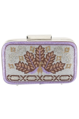 Japanese Glass Beads Embroidered  Rectangular Clutch