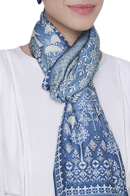 Printed floral motif stole