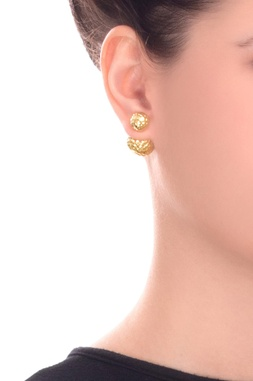Peek-a-boo earring with gold plating
