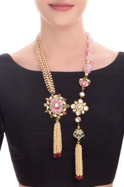 Gold finish statement necklace with pink stones