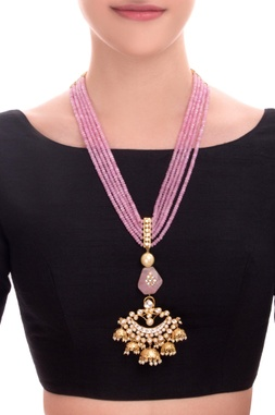 Pink stone statement necklace with jhumki pendant