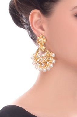 Gold finish earrings with kundan and pearl