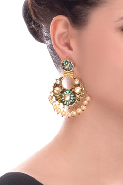 Gold finish earrings with paint detailing