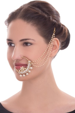 Gold finish nath with pearl and kundan work