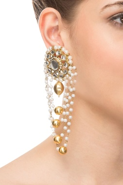 Gold chained earring
