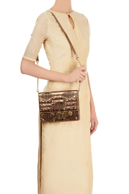 Bronze clutch with woven details
