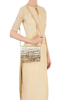 Champagne clutch with woven details