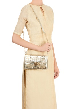Champagne clutch with woven & stitch details