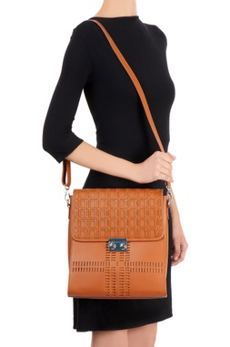 Brown bag with woven checked pattern