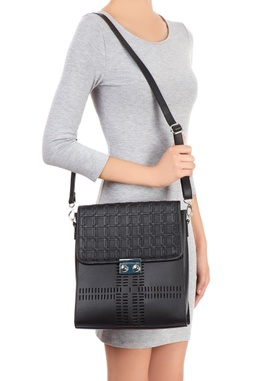 Black bag with woven checked pattern