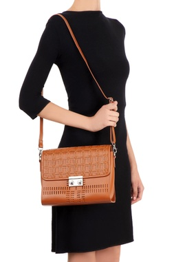 Brown satchel bag with a checked woven pattern