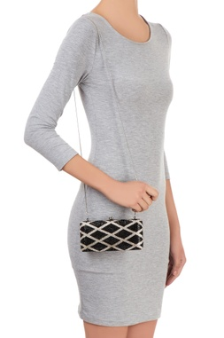 Black & white clutch with geometric pattern