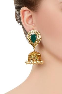 Green & gold jhumkas