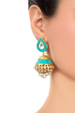 Turquoise jhumkas with kundan crystals