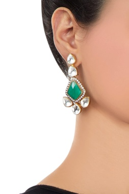 Green onyx earrings with kundan crystals
