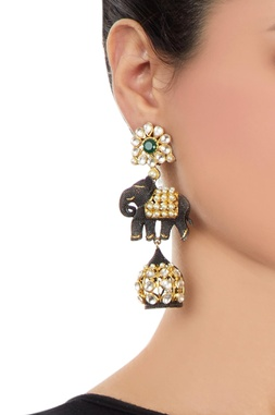 Black & gold earrings with elephant motif