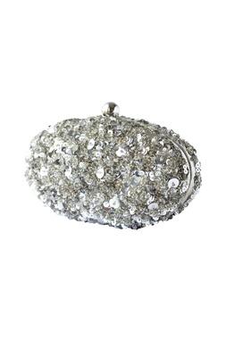 Silver beaded clutch