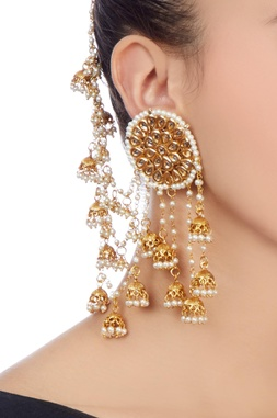 Gold & white beaded ear cuff with jhumkas