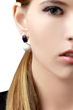 Gold plated earrings with blue & white studs