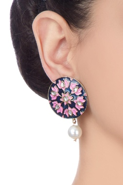 Navy blue lotus drop earrings