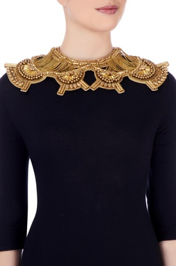 Gold plated beaded shoulder chain