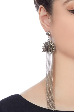 Silver plated long chain earrings