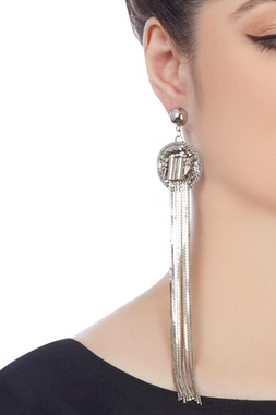 Silver plated earrings with long chain accents