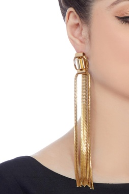 Gold plated earrings with chain accents