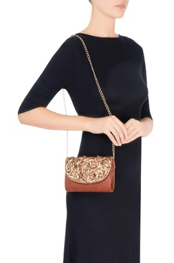 Brown bead embellished clutch