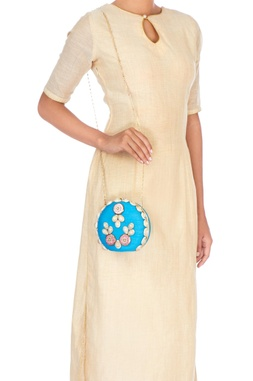 Blue embellished silk clutch