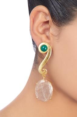 Gold plated moonstone earrings