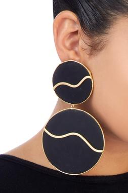 Black onyx stone moon earrings